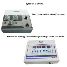 acco combo Tens (2 channel,Portable)+Ultrasound Therapy Unit(1 mhz) Digital (9 Prgs.) with Two Heads