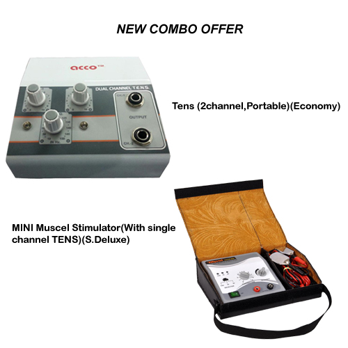 Combo of acco Tens Unit (2 Ch) and MINI Muscle Stimulator (With single