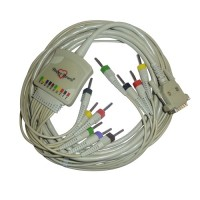 10 Lead ECG Cable Compatible with Nasan 4mm 15 pin Banana Type