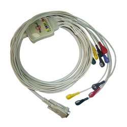 10 Lead ECG Cable Compatible with Nasan 15 Pin Snap Type