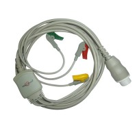 3 Lead ECG Cable Compatible with HP 12 Pin Clip type