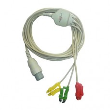 3 Lead ECG Cable Compatible with HP 8 Pin Clip type