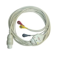 3 Lead ECG Cable Compatible with Schiller  12 Pin Snap type