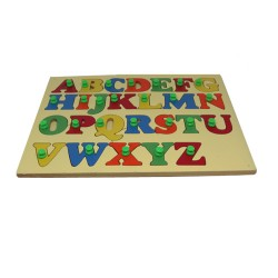 Capital ABC Shape Wooden Tray With Knobs