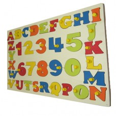 Capital ABC Shape with Numbers Wooden Tray With Knobs
