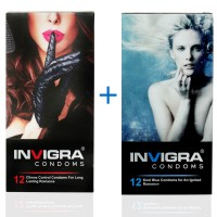 Invigra Condom Combo of Hi-Performance and Kool Blue -12's