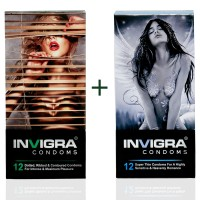 Invigra Condom Combo of Max Pleasure and Feather Touch-12's