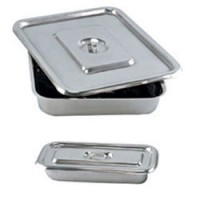 "Apex Stainless Steel Instrument Tray With Lid 10"" X 8"" (Set Of 2 Pcs)"