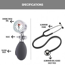 MCP Palm Type Aneroid Sphygmomanometer Blood Pressure Monitor with Dual head Stethoscope
