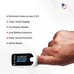 Dr. Odin Fingertip Pulse Oximeter+PI FS20E, with Plus Sound OLED Display Alarm Alert Function