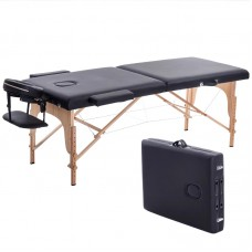 Wooden 2 Section Portable Massage Table Facial SPA Tattoo Bed