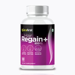 Nutrafirst Hair Regain Plus for Hair Regrowth with pure herbs extract for men and women - 60 Capsules