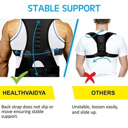 Healthvaidya Adjustable Posture Corrector For Pain Relief Black Free size