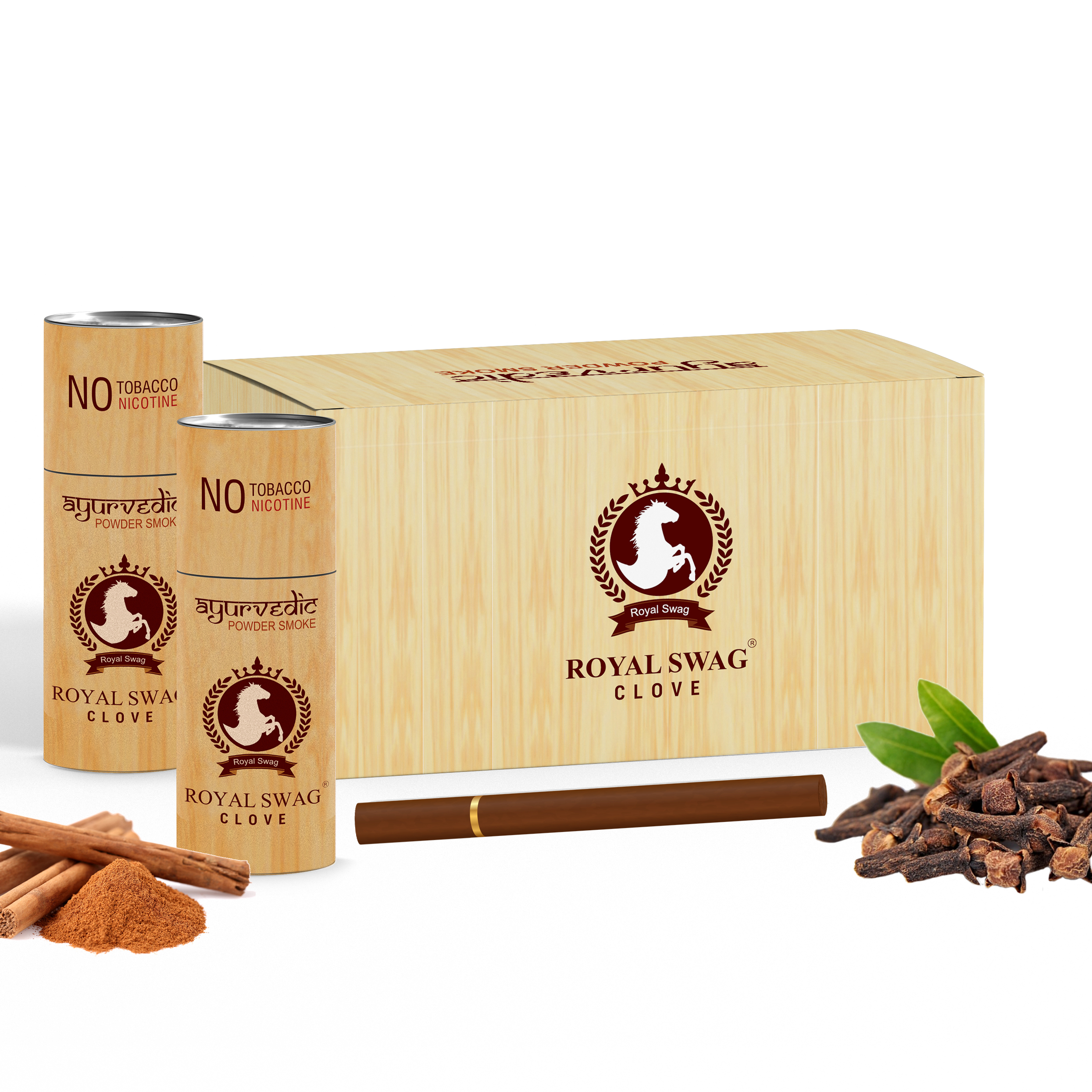 Royal Swag Herbal Cigarette MCT MINT 100% Nicotine & Tobacco Free Cigarettes - Pack Of 10 (50 Sticks)